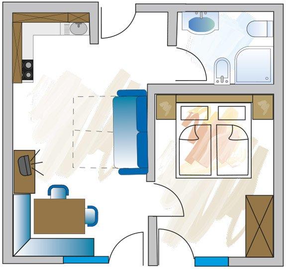 Grundriss Appartement E